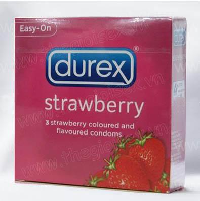bao cao su cao cấp, Bao cao su hương trái cây Durex strawberry - Mùi Dâu
